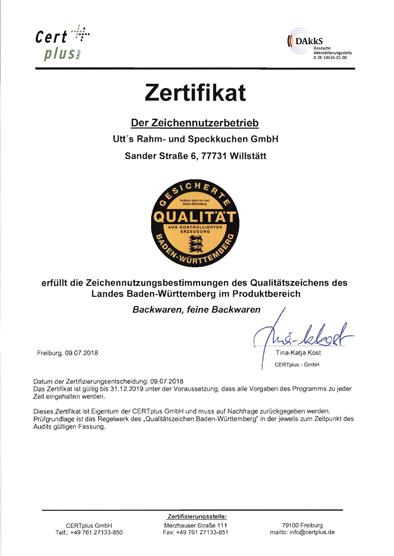 QZ BW Zertifikat