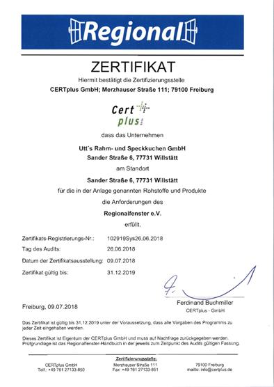 RF Zertifikat 2018